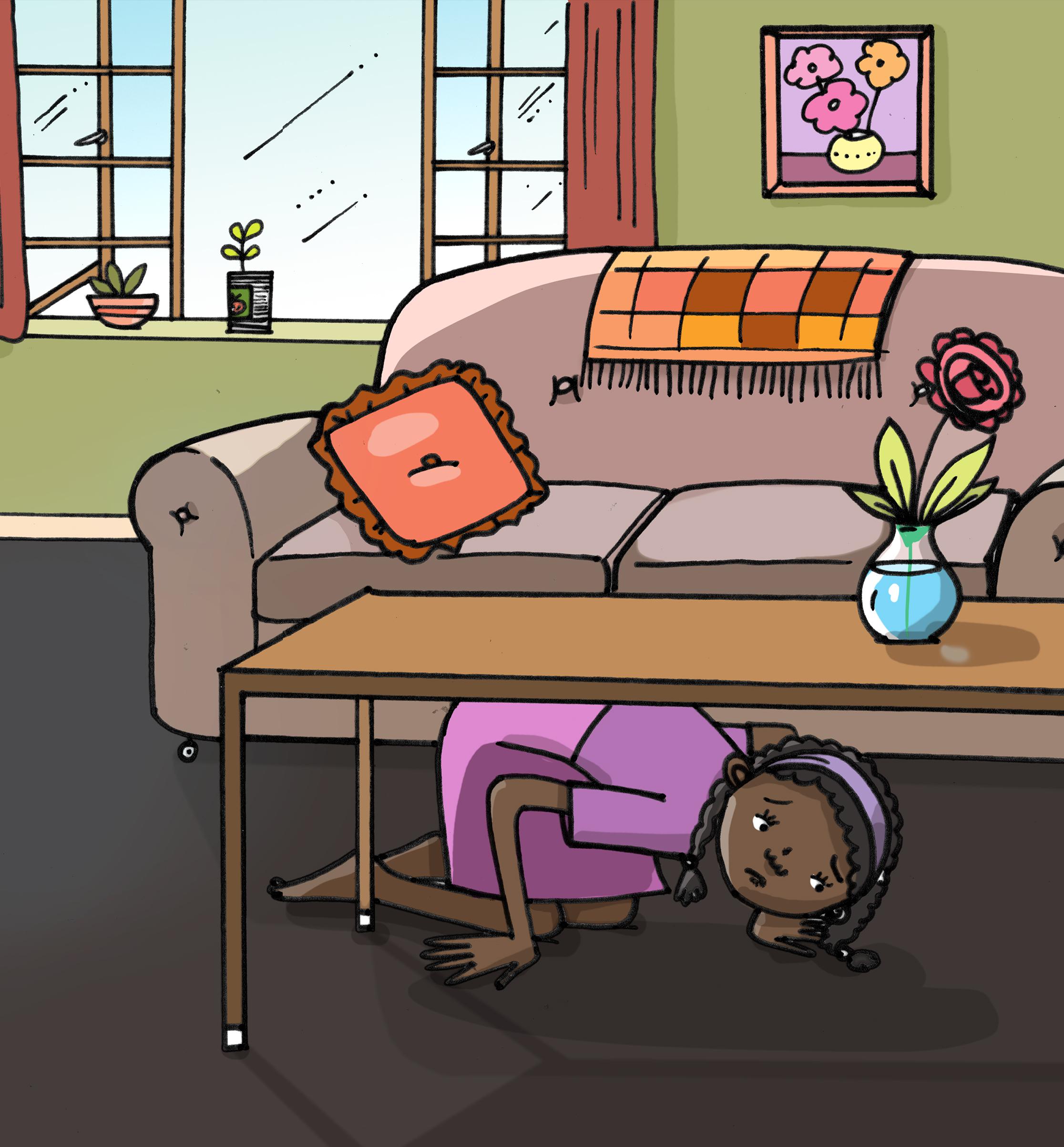 Girl Hiding Under The Table Storyweaver